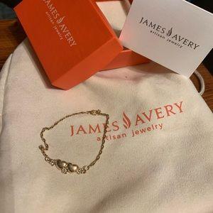 Estate 14k retired James Avery Dia /🌸/❤️ bracelet